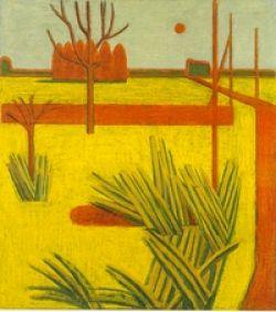 landschap (1955) in olieverf, dit hingin de gang.