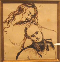 Charles Baudelaire (1821-1867) tekende dit 'Zelfportret met vrouw'